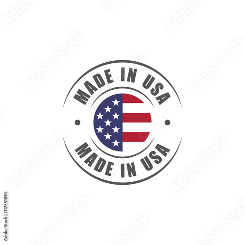 "Photographie  Round ""Made in USA"" label with USA flag"