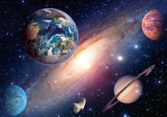 FototapetaSpace planet galaxy milky way Earth Mars Saturn universe astronomy solar system. Elements of this image furnished by NASA.