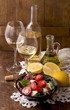 white wine and fruits