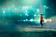 man walking at night in the city,gorgeous cold bokeh background,illustration