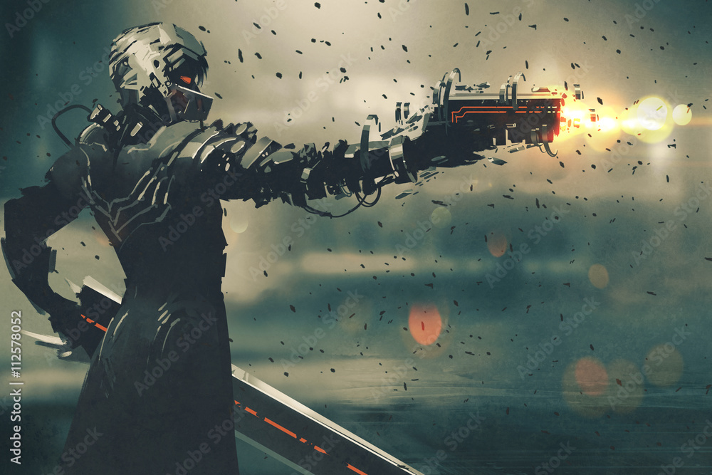 Fototapety, obrazy: sci-fi gaming character in futuristic suit aiming weapon,shooting gun,illustration