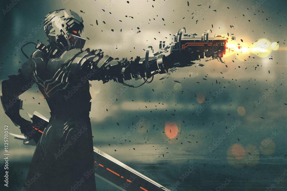 Fototapeta sci-fi gaming character in futuristic suit aiming weapon,shooting gun,illustration