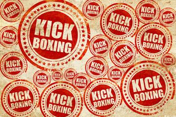 Fototapetakickboxing, red stamp on a grunge paper texture