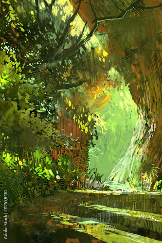 chodnik w lesie, dekoracje, ilustracja krajobraz