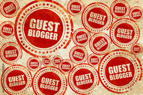 guest blogger, red stamp on a grunge paper texture - Buy this stock