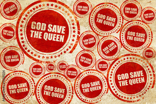 god save the queen, red stamp on a grunge paper texture Wallpaper Mural