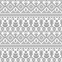 Black And White Ethnic Geometric Floral Seamless Pattern, Vector