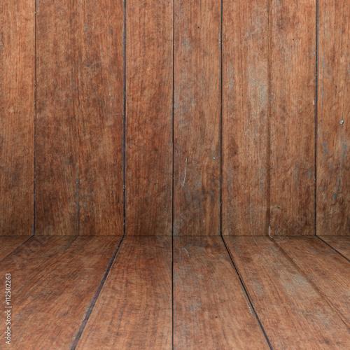 Garden Poster Wood Perspective floor with wood panel background