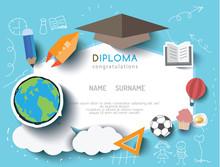Kids Diploma Preschool Certificate Elementary School Design Template Background. Vector Illustration