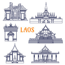 Laotian Temples Thin Line Icon...