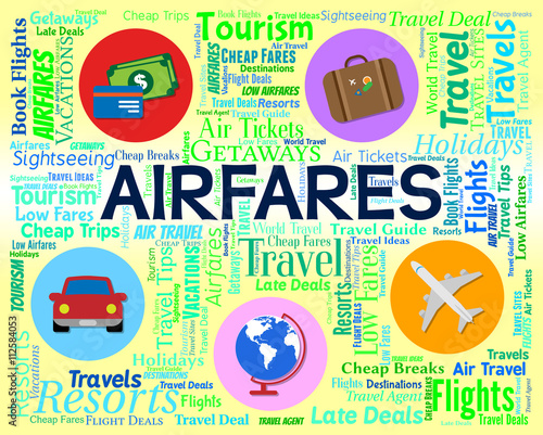 Airfares Word Indicates Selling Price And Aeroplane Canvas Print