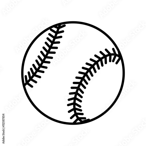 Baseball Ball Sign Black Softball Icon Isolated On White Background