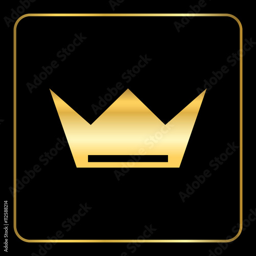 Crown Gold Icon Royal Golden Silhouette Icon Isolated On Black