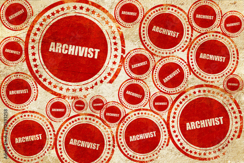 archivist, red stamp on a grunge paper texture Canvas Print