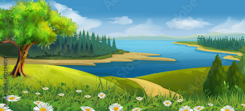 Foto op Plexiglas Blauwe jeans Nature landscape, stream valley, vector background
