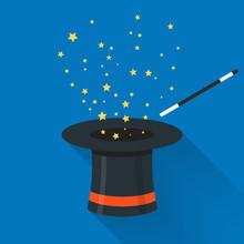 Abracadabra Cartoon Concept. Magic Wand With Stars Sparks Above Black Magic Hat. Abracadabra Flat Design