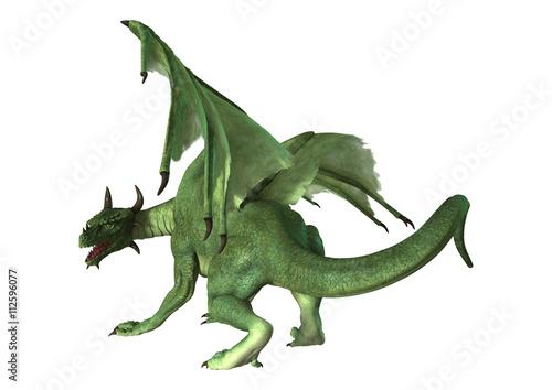 Cadres-photo bureau Dragons 3D Rendering Fantasy Dragon on White