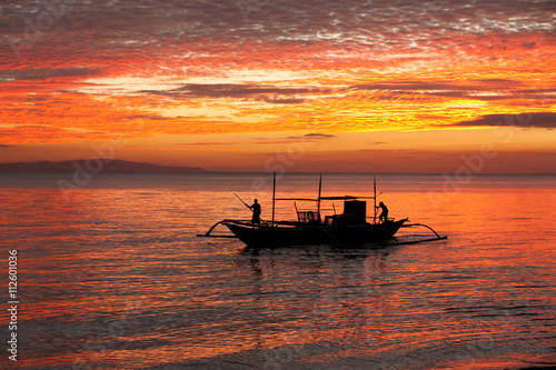Canvas Prints Red Sunset with fishing boat - Donsol Philippines