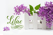 Beautiful bouquet of flowers, small fence on the white background and word lilac
