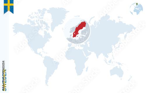 Blue world map with magnifying on Sweden. – kaufen Sie diese ...