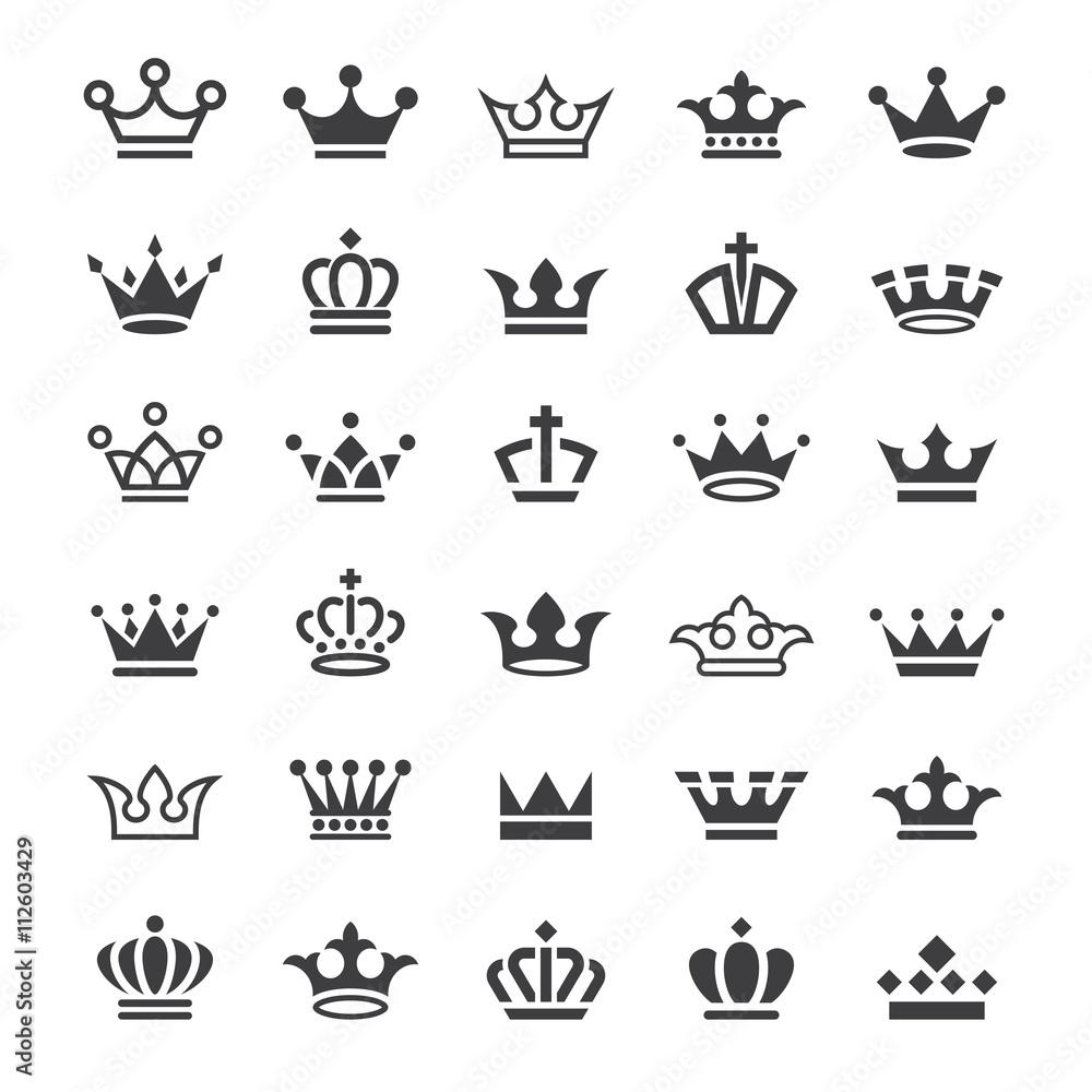 Fototapeta 30 Vector crown icons set