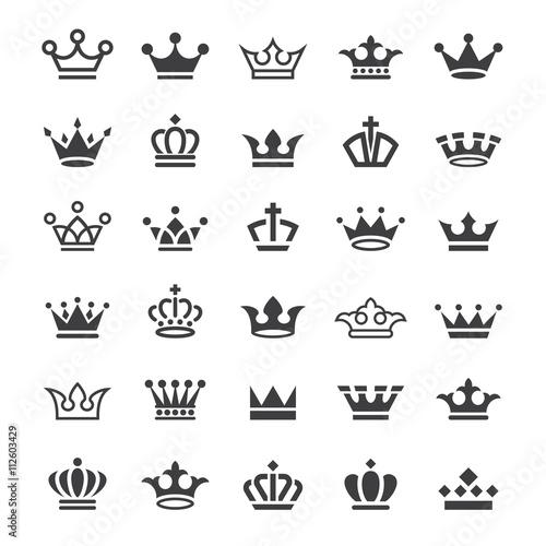Fotografiet 30 Vector crown icons set