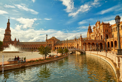 Spain Square (Plaza de Espana). Seville, Spain. Canvas Print