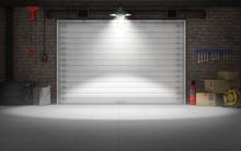 Empty Car Repair Garage Background. 3d Rendering
