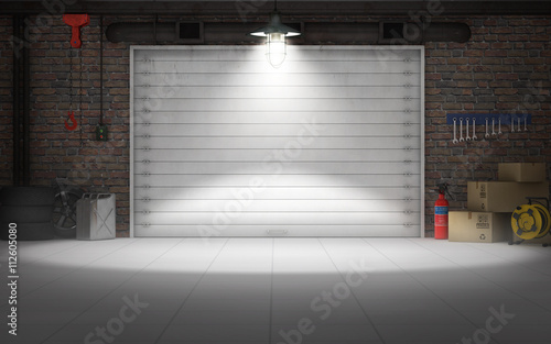 Empty car repair garage background. 3d rendering Canvas Print