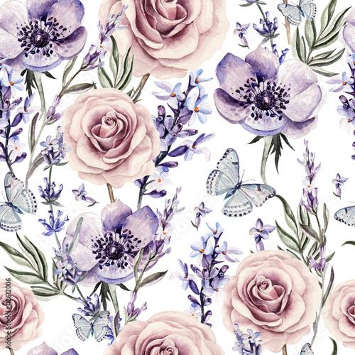 Akwarela wzór z kolorami lawendy, róż i anemonu.