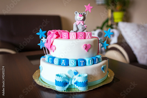 Astounding Birthday Cake For Twins With Name The Cake Boutique Funny Birthday Cards Online Overcheapnameinfo
