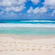 traces de pas sur plage d'Anse Lazio, Seychelles
