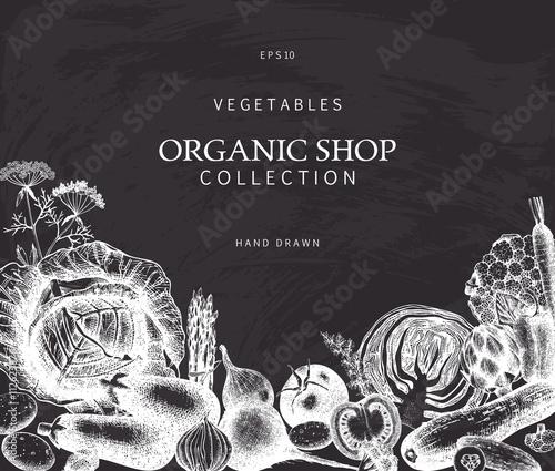 Healthy Food background. Vector vegetables illustration. Sketched menu design. Eco food template with hand drawn vegetables sketch on chalkboard. Vintage style.