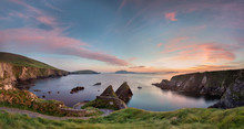 Irish Landscape With Rocks And Steep Road To Quay Where A Little Ferry Departs To Blasket Island, Ireland, Panormama