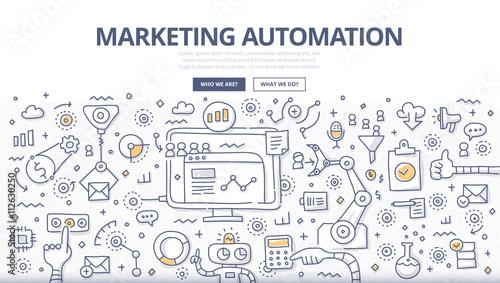 Fotografía  Marketing Automation Doodle Concept
