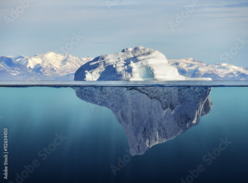 iceberg with above and underwater view Canvas Print