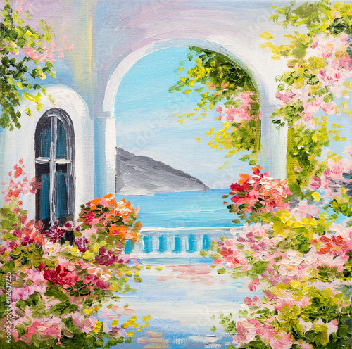 Poster Rose clair / pale oil painting on canvas - house near the sea, summer, canvas, greek