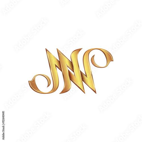 Gold Monogram Double Letter N Vector Golden Initials Logo Design