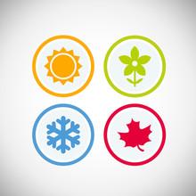 Four Seasons Icon Symbol Vector Illustration. Weather Forecast. Season Simple Elements