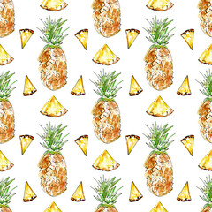FototapetaSeamless pattern with fruit.Pineapple and pineapple slices.Food picture.Watercolor hand drawn illustration.White background.