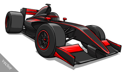 Obraz na Szkle Formuła 1 child's funny cartoon formula race car vector illustration art