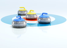 Curling Stones In The Center Of Target Isolated On White Background. 3d Rendering.