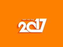 Beautiful Text Design Of Happy New Year 2017 On Bright Background