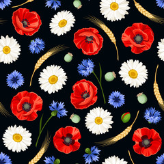 Panel Szklany Maki Vector seamless pattern with red poppies, white daisies, blue cornflowers and ears of wheat on a black background.