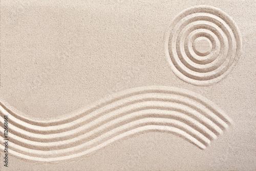 Foto op Canvas Zen Wave and circles in a Japanese zen garden
