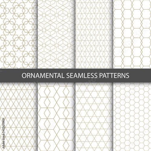 Fototapeta Collection of seamless ornametal patterns.  obraz na płótnie