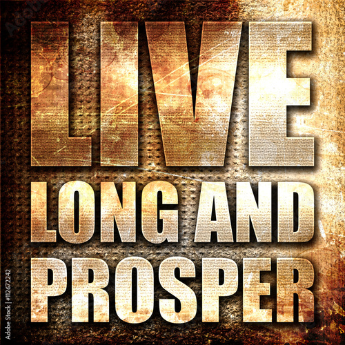 Fotografia, Obraz live long and prosper, 3D rendering, metal text on rust backgrou