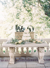 Tiered Wedding Cake On Stone Bench