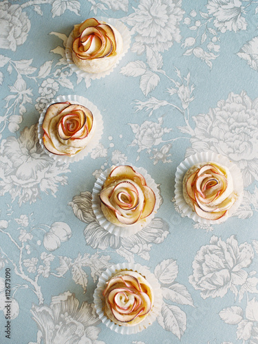 Overhead view of rose apple tarts Poster
