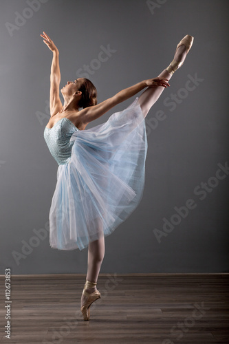 young ballerina in ballet pose classical dance Canvas Print